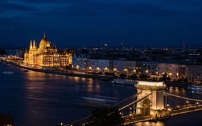Picture lights, Parliament, Hungary, Budapest, The Danube, Chain bridge
