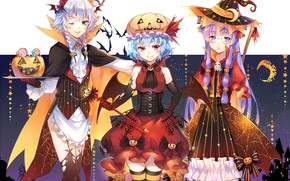 Picture girls, holiday, anime, art, touhou, Halloween