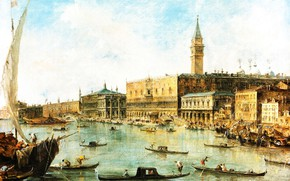 Picture picture, the urban landscape, Francesco Guardi, Francesco Lazzaro Guardi, The Doge's Palace and the Molo …