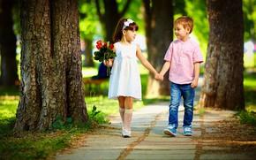 Picture look, children, Park, bouquet, boy, dress, girl, hands, walk