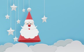 Picture new year, cloud, mask, Santa Claus, stars