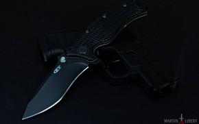 Picture the dark background, gun, knife, folding knife, черный нож, Zero Tolerance, черный пистолет, Walther Compact …