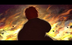 Picture fire, male, Honkai Impact 3