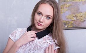 Picture hair, picture, earrings, hands, makeup, blouse, Alex Diaz