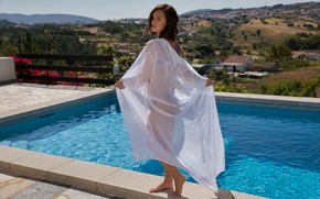 Picture pool, landscape, view, model, brunette, bikini, sweater, Marine Lecourt