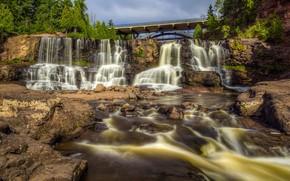 Wallpaper the sun, trees, bridge, stones, waterfall, USA, river, Minneopa State Park