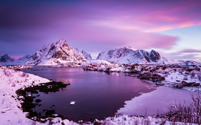 Picture ice, winter, the sky, clouds, snow, landscape, mountains, nature, stones, rocks, lilac, view, color, home, …