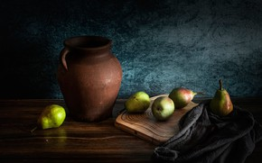 Picture the dark background, table, fabric, pitcher, fruit, still life, pear, cutting Board, ceramics