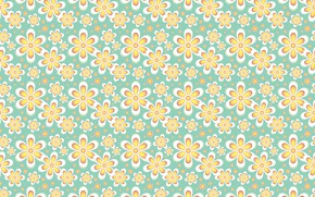 Picture flowers, yellow, texture, light green background