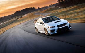 Picture road, machine, the sky, asphalt, the sun, clouds, light, Subaru, drives, track, WRX STI, sports …