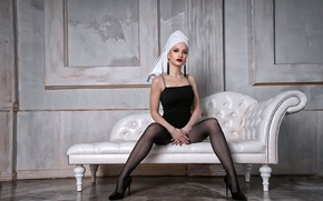 Picture girl, pose, feet, towel, stockings, canapés, Vyacheslav Turcan