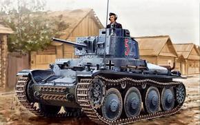 Picture tank, Tank, panzerwaffe, Hut, Trophy, Pz.Kpfw.38(t), Tanker, Czechoslovak