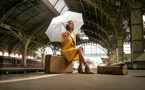 Picture look, girl, pose, station, umbrella, dress, Antipin, Denis