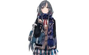 Picture scarf, white background, schoolgirl, bag, jacket, keychain, long hair, art, skirt in a cage, Yukinoshita …