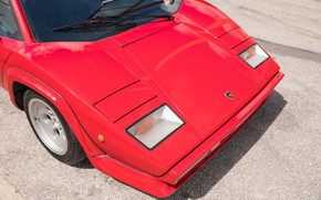 Picture The hood, Red, Lights, Before, Lamborghini Countach