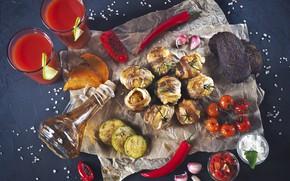 Picture oil, juice, bread, pepper, vegetables, tomato, bacon, garlic, potatoes, zucchini, grill