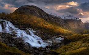 Picture autumn, forest, mountains, waterfall, Norway, cascade, Norway, Sogn og Fjordane, Sogn and Fjordane