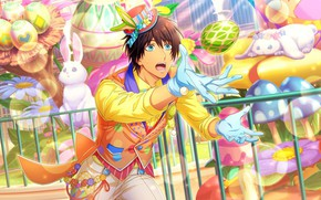 Picture mushrooms, chamomile, gloves, hat, blue eyes, Easter eggs, the Easter Bunny, catches, the guy in …