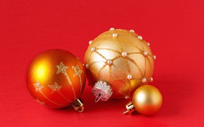 Picture winter, balls, holiday, balls, Christmas, New year, gold plated, red background, gold, Christmas decorations, Christmas …