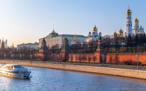Picture river, Moscow, tower, Russia, promenade, ship, temples, The Moscow river, The Kremlin wall, Cathedral of …