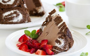Picture berries, strawberry, cake, wood, chocolate, a piece of cake