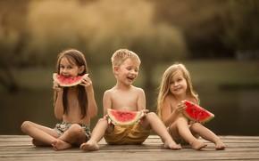 Picture joy, children, childhood, watermelon, Masha Maas