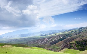 Picture greens, the sky, clouds, mountains, fog, blue, hills, blue, the slopes, spring, dal, morning, haze, …