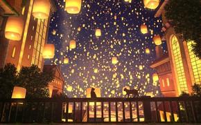 Picture cat, cat, night, bridge, the city, cats, lanterns, Perilla, Located