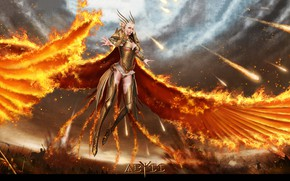 Picture girl, fire, war, angel, Abyss