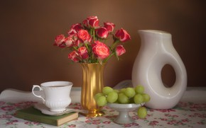 Picture tea, roses, grapes, Cup, book