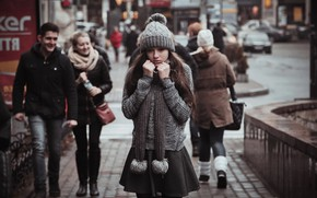 Picture girl, the city, street, cold, skirt, passers-by, Ruslan Zhukov