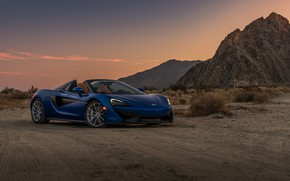 Picture sunset, desert, McLaren, the evening, supercar, Spider, 570S