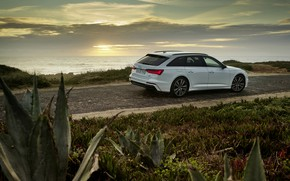 Picture white, Audi, the evening, hybrid, universal, Audi A6, 2020, A6, A6 Avant, 55 TFSI and …
