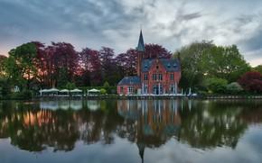 Picture landscape, nature, the city, pond, reflection, the building, restaurant, Belgium, twilight, Bruges