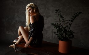 Picture flower, chest, model, Girl, figure, blonde, legs, sitting, Natalia Steinberg, Christina Kasimova