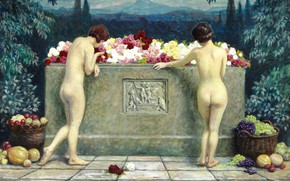 Picture 1929, Danish painter, Danish painter, Paul Gustav Fischer, Paul Gustav Fischer, At the sarcophagus, Paul ...