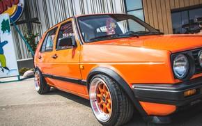 Picture Volkswagen, Machine, Orange, Machine, Car, Car, Cars, Golf, Cars, Volkswagen, Golf