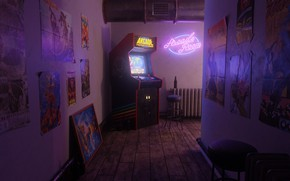 Picture Neon, Retro, Corridor, Arcade, Slot machine, Ferhat Tanman, A scene from the past., Arcade Fighter's …