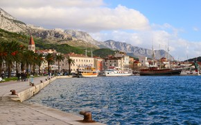 Picture The city, Promenade, Croatia, Makarska, Турестический