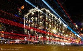 Picture light, the building, Saint Petersburg, Russia, night city, Nevsky Prospekt