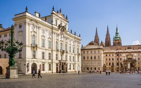 Picture building, Prague, Czech Republic, the Archbishop's Palace, Hradcany square