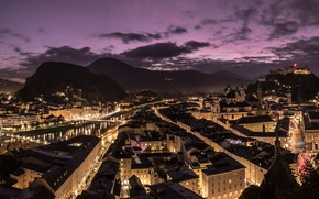 Picture night, the city, Salzburg, golden city