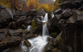 Picture autumn, stones, waterfall