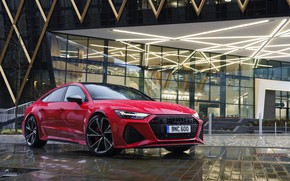 Picture red, Audi, dampness, RS 7, 2020, UK version, RS7 Sportback