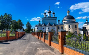 Picture road, the fence, Church, Russia, the monastery, Moscow oblast, Монастырь Вознесенская Давидова пустынь, село Новый …