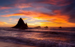 Picture sea, coast, sunset, rocks, shore, tide