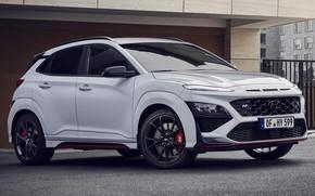 Picture Hyundai, crossover, exterior, white color, Hyundai Kona N