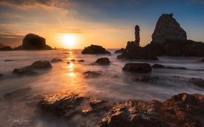 Picture sea, sunset, rocks, Beach of Silence, Didier Lanore