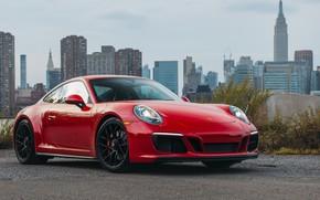 Picture City, Red, Sportcar, Porsche 911 Carrera GTS