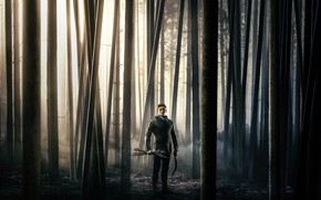 Picture forest, trees, fog, bow, arrows, adventure, action, poster, Robin Hood, Archer, Taron Egerton, Of Taron ...